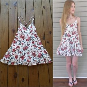 AE Size M Red Floral Strappy Tiered Mini Dress